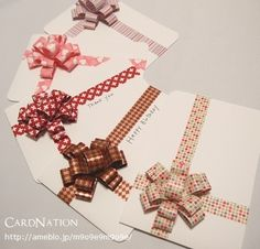 DIY card with tape. Need to figure out how to make the bows. (Website in Japanese.don't open link) Use for Christmas Homemade Greeting Cards, Greeting Cards Handmade, Homemade Cards, Diy Cards And Envelopes, Diy Invitations, Invites, Diy Projects To Try, Scrapbook Cards, Diy Gifts