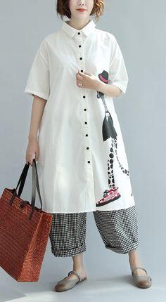 beige prints turn-down collar cotton sundress plus size casual summer dresses short sleeve shirt dress