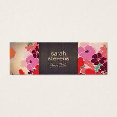 Madera y oro florales coloridos elegantes del tarjeta de visita pequeña