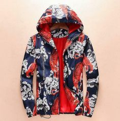 ec66d787 New Autumn Mens Leisure Floral Print Zip Coat hooded jacket Tiger Outwear  Spring #fashion #