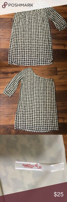 "Houndstooth dress  My Story one-shoulder dress. 25.5"" length on right side, 33"" length from left shoulder. This dress is lined. Excellent used condition. The perfect dress to wear to a Bama game this fall! My Story Dresses One Shoulder"