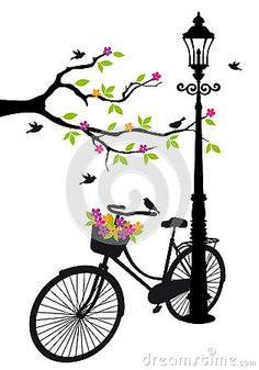 Bicycle with lamp, flowers and tree, vector Royalty Free Stock Photos