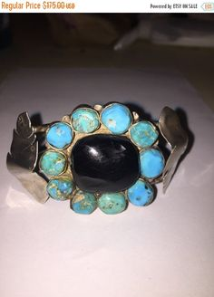 ON SALE Navajo Turquoise Onyx Sterling Cuff by BargainBitz on Etsy