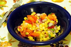 cilantro, tomato, and corn salad with lemon butter dressing from the cooks sister