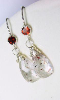 Lepidocrosite Gemstone Sterling Earrings