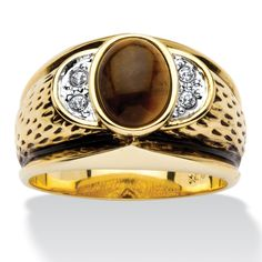 Palm Beach Jewelry PalmBeach Antiqued 14k Goldplated Men's Oval-Shaped Genuine Tiger's Eye Crystal Accent Ring