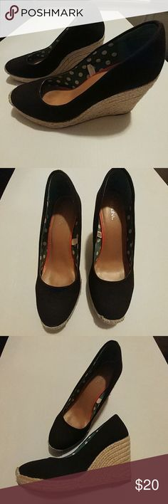 Black & tan wedges! Perfect for this weather! Target (Merona brand) wedges in black & tan heel. Size 7.5. Used only a few times. Perfect accessory for this beautiful weather and season! Merona Shoes Wedges