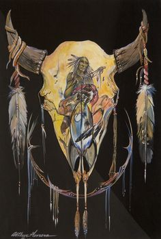 Arthur Herrera Art Native American Wisdom, Native American Design, American Indian Art, Deer Skull Art, Skull Decor, Indian Chief Tattoo, Cow Skull Tattoos, Painted Cow Skulls, Indian Skull