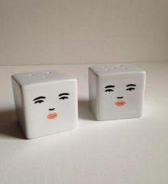 Square Face Salt Pepper Shakers