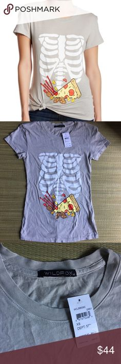 🆕👻Wildfox👻 Full Stomach Graphic Tee 🆕NWT👻Wildfox👻 Full Stomach tee! Sadly too small for me😞 super soft grey graphic will be your Halloween go to tee 🎃 just asking what I paid for it but please make offer 🎃 Wildfox Tops Tees - Short Sleeve