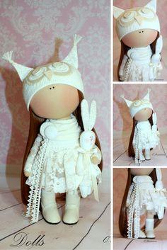 Textile doll handmade Fabric doll Tilda doll white color Soft doll Cloth doll…