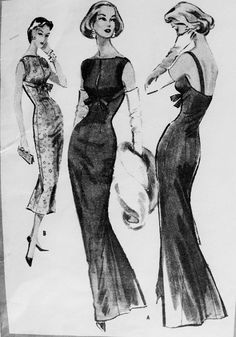 1950s Gorgeous Evening Dress Gown Pattern Pauline Trigere Man Magnet Glove Fitting Empire Dress Seductive With Elegance McCalls 4258 Vintage...