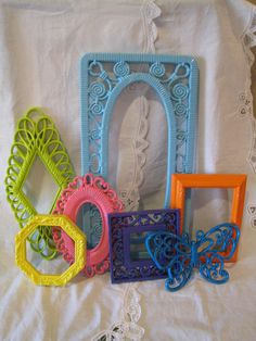Brightly Painted Upcycled Frame Set of 6 with by WestTexasVintage, $52.00
