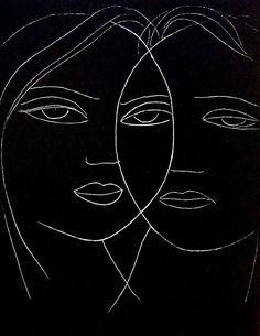 "sovtime: "" podsteklom: ""Адам и Ева. Маски. 1960. Мельников Н.М. "" Adam and Eve. Masks. 1960. By N. Melnikov. """