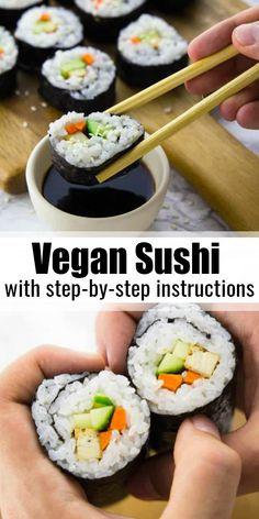 Vegan Dinner Recipes, Delicious Vegan Recipes, Whole Food Recipes, Cooking Recipes, Easy Sushi Recipes, Avocado Recipes Vegetarian, Japanese Vegetarian Recipes, Japanese Desserts, Vegetarian Snacks