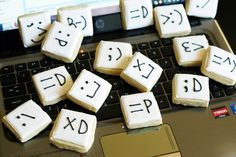 can you say emoticon addiction? Guilty! now lets eat cookies! SO CUTE!! via @bakeat350