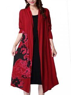 Vintage Women Floral Printed Long Sleeve Loose Linen Cardigan Dress