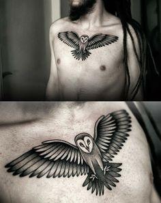 Kamil Czapiga, stunning Polish tattoo artist. #owl