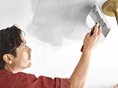How to put a fresh face on brown, blistered, water-damaged drywall Plaster Ceiling Repair, Repair Ceilings, Drywall Ceiling, Bathroom Repair, How To Patch Drywall, Mask Painting, Painted Trays, Home Repairs, Fresh Face