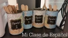 My Spanish Classroom - a peek inside my room! Some ideas for organization and free printables. Chalkboard and maps theme. Making a small classroom work.