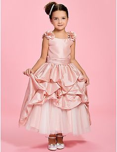 A-line Bateau Ankle-length Taffeta Flower Girl Dress - GBP £ 49.69