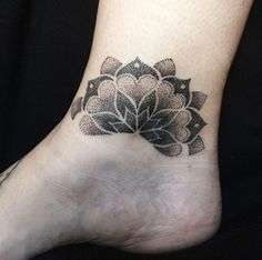Dotwork mandala ankle tattoo by LOLO