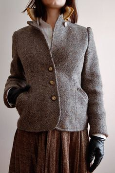 tweed with black leather gloves- pretty