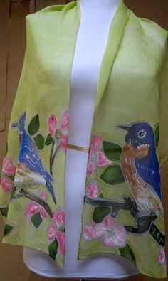 Handpainted Silk chiffon scarf  Accessory Unique gift by silkworth, $50.00
