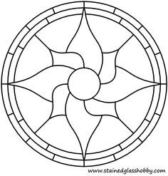 Outline stained glass floral round panel. Free pattern