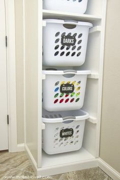 DIY Laundry Basket Organizer is part of Basket Organization Bedroom - DIY Laundry Basket Organizer Organize your home, or small spaces Tips, tricks and easy DIY ideas for storage on a budget Laundry Basket Organization, Laundry Room Organization, Laundry Room Design, Storage Organization, Laundry Storage, Garage Storage, Makeup Organization, Diy Organizer, Clothing Organization