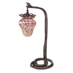 "Austrian Art Nouveau bronze and glass ""Coiled Serpent"" desk lamp embellished with a Loetz"