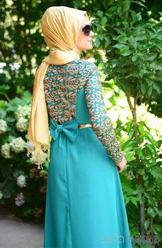 Tesettür Abiye Elbise Zernişan 5256-01 Yeşil