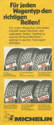 Carte Michelin allemande - publicité pour une gamme de pneus