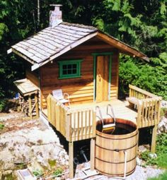 You Simply Can't Buy a Better Western Red Cedar Hot Tub! Ordering your Western Red Cedar Hot Tub is easier than ever before. Tiny Cabins, Tiny House Cabin, Cabin Homes, Outdoor Sauna, Outdoor Baths, Rustic Saunas, Mini Sauna, Sauna House, House Bath
