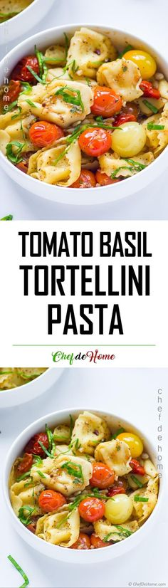 Cherry Tomato Basil Tortellini Pasta A home run easy weeknight Tortellini Pasta recipe. 15 minutes, 5 main ingredients and a homemade meal of restaurant quality. #pasta #tortellini