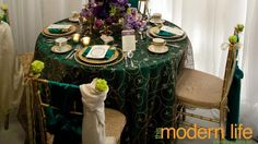 green and gold vintage wedding