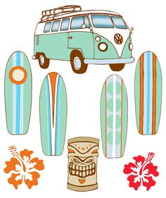 Surfboard Baby Mobile  Volkswagon Bus and by FlyingTrees on Etsy, $75.00