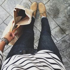 Business casual work outfit: white and navy striped shirt, dark skinny jeans, tan suede shoes. I'd wear with brown booties or nude heels.