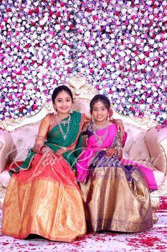 Baby Boy Dress, Baby Girl Dresses, Flower Girl Dresses, Kids Indian Wear, Indian Party Wear, Half Saree Lehenga, Kids Lehenga, Half Saree Designs, Silk Saree Blouse Designs