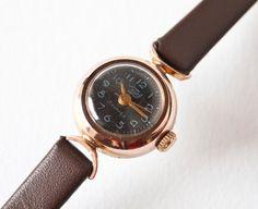Womens wrist watch Zarja tiny little gold plated very by SovietEra, $62.00