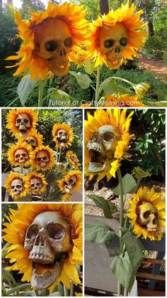Diy halloween decorations 510103095294658567 - Skull Sunflowers (Tutorial)- skull flowers instructions how to. Skull sunflowers for a fall halloween outdoor decoration! Halloween Prop, Casa Halloween, Halloween Tags, Diy Halloween Decorations, Holidays Halloween, Halloween Pumpkins, Happy Halloween, Fall Decorations, Halloween Skull