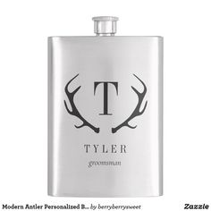 Modern Antler Personalized Bridal Party Gift Flask Groomsmen Flask, Groomsmen Gifts Unique, Groomsman Gifts, Customized Gifts, Custom Gifts, Anniversary Quotes, Father Of The Bride, Stationery Design, Antlers