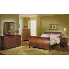 Louis Phillipe 6 Pc Bedroom Set in Cherry By Coaster Furniture ** Read more at the image link. (This is an affiliate link) Amazon Bedroom Furniture, Full Bedroom Furniture Sets, Buy Bedroom Set, Wood Bedroom Sets, Bedroom Furniture Makeover, Buy Furniture Online, Living Furniture, Cheap Furniture, Furniture Decor