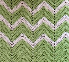 Super Soft Afghan Blanket in Green and White Chevron Pattern by HautelAudubon on Etsy https://www.etsy.com/listing/455169820/super-soft-afghan-blanket-in-green-and