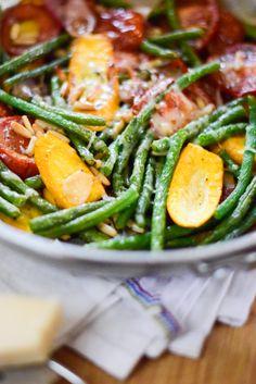 Szybki obiad na lato | Fasolka szparagowa z cukinią i pomidorami.