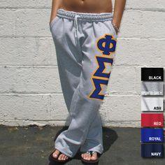 Open Bottom Phi Sigma Sigma Sweatpants - Gildan 12300 - TWILL