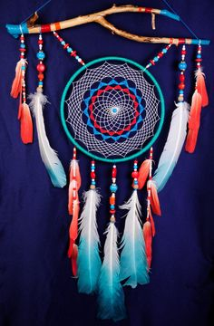 Menthe Corall Dream Catcher grand capteur par BestDreamcatcherShop