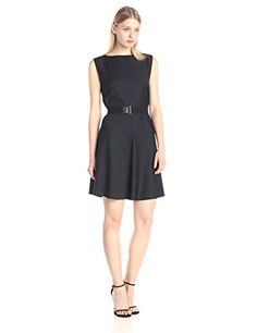 Nice Theory Women's Grycie Classy Wool Fit-And-Flare Dress with Belt Solid sleeveless dress in flared silhouette featuring bateau neckline and V-back Wide elastic belt with faux-leather and gunmetal-tone hardware Concealed center back zipper