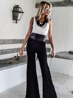 Black Flare Wide Leg Pants / Black Flare Pants by SynthiaCouture