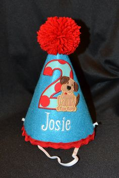 puppy first birthday theme for a boy   Puppy Dog Boy 1st Birthday Birthday Party Hat With Hand made pom pom ...